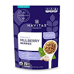 Nutrient-dense and aromatic, mulberries have been prized for centuries by cultures East and West Navitas Organics Mulberries are unsulfured and naturally sun-dried to preserve their potent nutrients Known for their high level of antioxidants, includi...