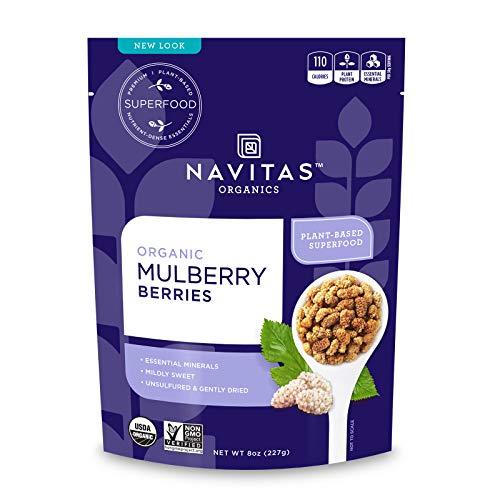 Navitas Organics Mulberries, 8oz. Bag, 8 Servings Organic, Non-GMO, Sun-Dried, Gluten-Free, Sulfite-Free
