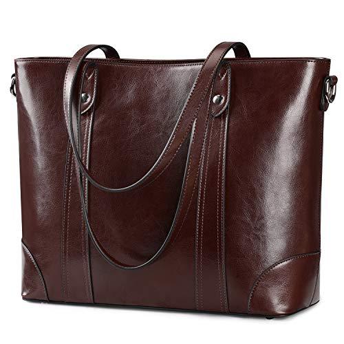 S-ZONE 15.6 Inch Leather Laptop Bag for Women Shoulder Handbag Large Work Tote