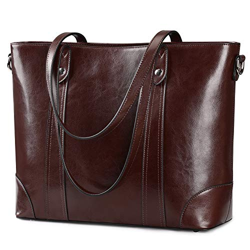 S-ZONE 15.6' Leather Laptop Bag for Women Shoulder Bag Large Work Tote with Padded Compartment