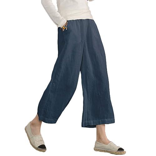 96ea6d7fe5dc1 Ecupper Womens Casual Loose Plus Size Elastic Waist Cotton Trouser Cropped Wide  Leg Pants