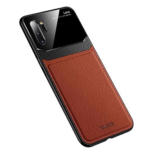 Funda Compatible con Galaxy Note 10 Plus, Carcasa Ultra Delgado De Piel PU y Suave TPU Cover Case Carcasa para Galaxy Note 10+, Marrón