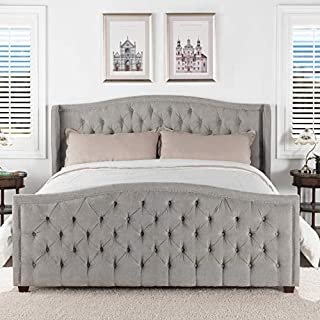 Jennifer Taylor Home Marcella Tufted Wingback King Bed, Silver Grey (B01LO8635C)   Amazon price tracker / tracking, Amazon price history charts, Amazon price watches, Amazon price drop alerts