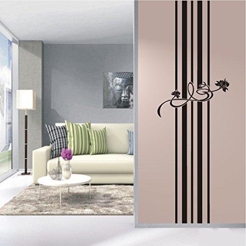 HomeTattoo ® WANDTATTOO Wandaufkleber Blumen Ornament Banner Blüten Streifen Stripes 371 XL ( L x B ) ca. 180 x 58 cm (dunkelrot 030)