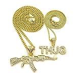 Shiny Jewelers USA Mens ICED Out Machine Gun AK 47 Chopper Thug Life Mob Pendant Chain Necklace Set (AK47 Chopper Thug Necklace Set)