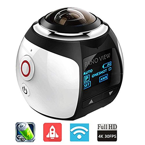 iKNOWTECH 2016 New GBD Wireless 360 Degree Panoramic Camera 3D VR Action Sports Camera WiFi 16MP 4K HD 30fps Waterproof 230° Large Lens Mini DV Player (Silver)