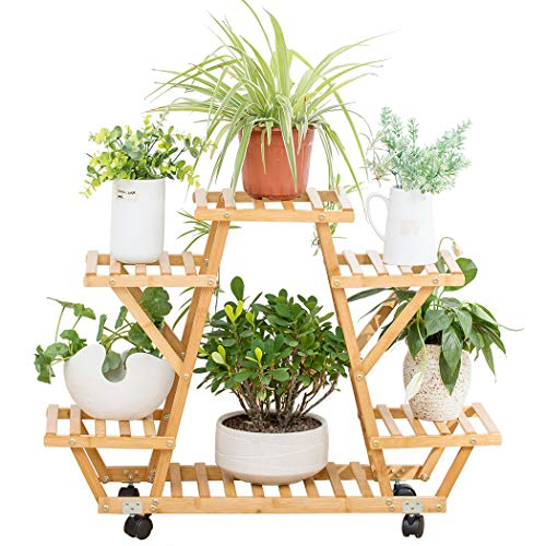 Bamboo Rolling 6 Tier Plant Stand Rack Multiple Flower Pot Holder Shelf Indoor Outdoor Planter Display Shelving Unit for Patio Garden Corner Balcony Living Room
