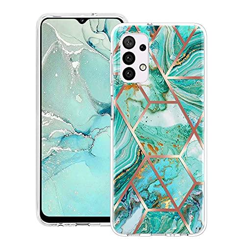 CHENSHU Marmo Cover per Samsung Galaxy A32 4G, Silicone Custodia con Motivo in Marble Glitter Custodia Protettiva AntiGraffio TPU+PC Duro Bumper Flessibile Case Cover, Verde