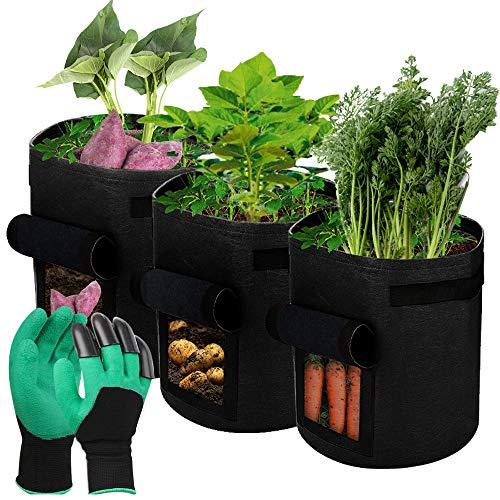 Pflanztasche, Zhina 40L Kartoffel Pflanzsack aus Vliesstoff mit Griffen, Sichtfenster und 1 Paar Gartenhandschuhe für Kartoffeln, Tomaten, Blumen, Gemüse, 3er Set
