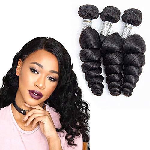 Maxine loose wave hair bundles 10A brazilian loose deep wave bundles Unprocessed Human Virgin Hair Extensions for black women natural color(20 22 24 2