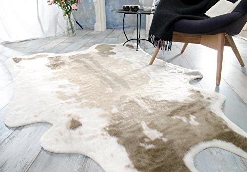Teppich Wohnen & Accessoires Kuhfell Hellbraun aus Fellimitat (Kunstfell) - hochwertiger Fellteppich - Größe 145 x 205 cm - TOP QUALITÄT