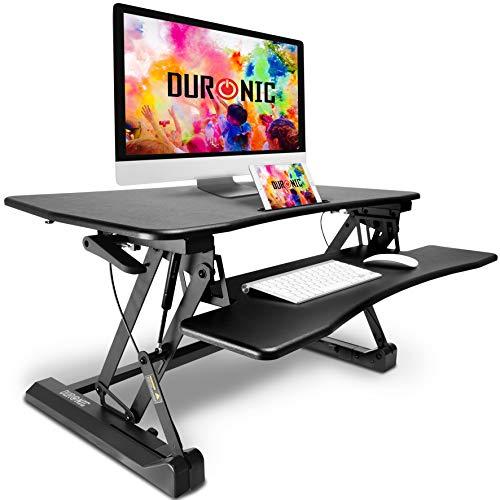 Duronic Sit-Stand Desk DM05D2 | Height Adjustable Office Workstation | 90x59cm Platform | Raises from 14-50cm | Riser for PC Computer Screen, Keyboard, Laptop | Ergonomic Desktop Table Converter
