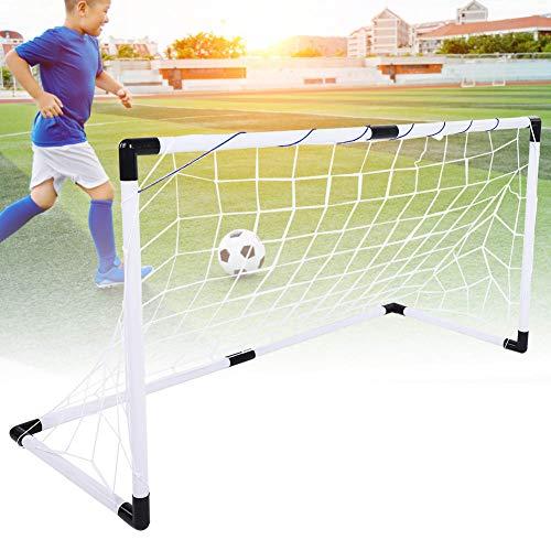 Kit de portería de fútbol, al aire libre, plegable, resistente al desgaste, para niños, kit de portería de fútbol, juguetes con bomba de bolas, juguetes de entrenamiento para niños, fútbol blanco,