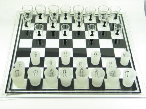 Bella-Vita GmbH Schachbrett aus Glas Drinking Chess mittel Schachspiel Geschenk