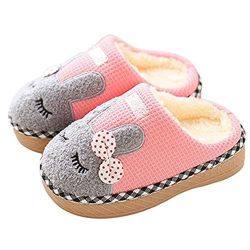 SITAILE Jungen Mädchen Winter Pantoffeln Slippers Schuhe mit Plüsch gefüttert Wärme Weiche rutschfeste Hausschuhe Für Kinder Baby  , 01 Rosa , 20/21 EU (Herstellergröße 14/15)