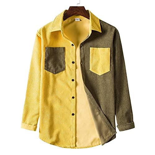 T Shirt Camicia Camicie Patchwork Di Velluto A Coste Da Uomo Camicia A Maniche Lunghe Con Tasche Doppie Camicia Casual Da Uomo Con Bottoni A Coste Camicia Da Uomo Western-Pattern_3_Us_Size_L