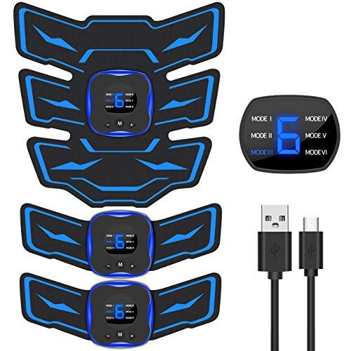 EMSIC EMS 腹筋ベルト 液晶表示 USB充電式 腹筋 腕筋 筋トレ器具 トレーニングマシーン 「6種類モード 9段...