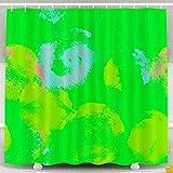 N\A Duschvorhang, Weihnachtsaquarell Abstrakter Hintergr& Festliche Textur Einfache r&e Kleckse Gezeichnet in Boho Wasserdicht Dekorative Badezimmer Stoff Duschvorhänge, Gelbgrün