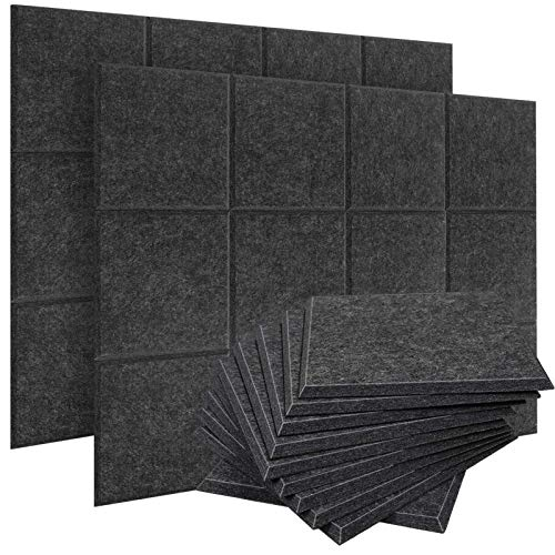 ZHERMAO 24 Pack Acoustic Panels Sound Proof Padding,12 X 12 X 0.4 Inches Sound Dampening Panels Bevled Edge Sound Panels,Acoustic Treatment Used in Home & Offices (Sesame)