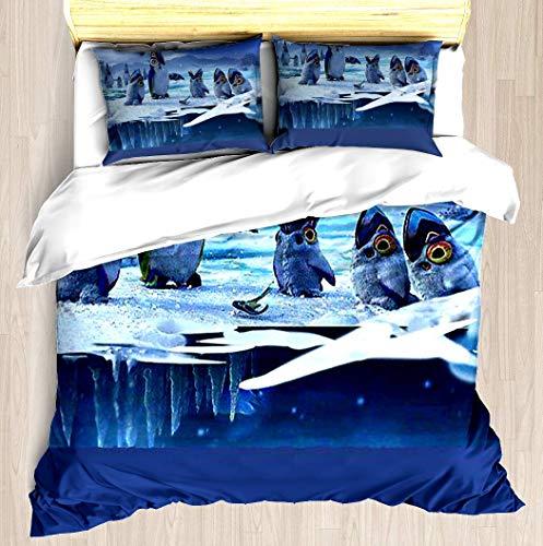 KASABULL Bettwäsche Subnautica: Unter Null - Penglings und PengwingsBettbezug Set mit Marmor Muster, 3 teilig microfaser Bettwäsche warme Bettbezüge mit Reißverschluss 135x200 cm