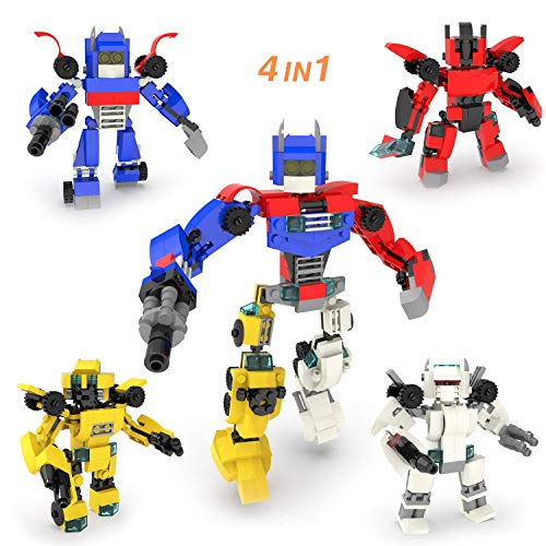 FUN LITTLE TOYS 4-in-1 Robot Building Blocks Toys for Boys, 504 PCs Creative Building Bricks, Goodie Bags Fillers, Carnival Prizes, Treasure Box Prizes for Classroom, Pinata Filler