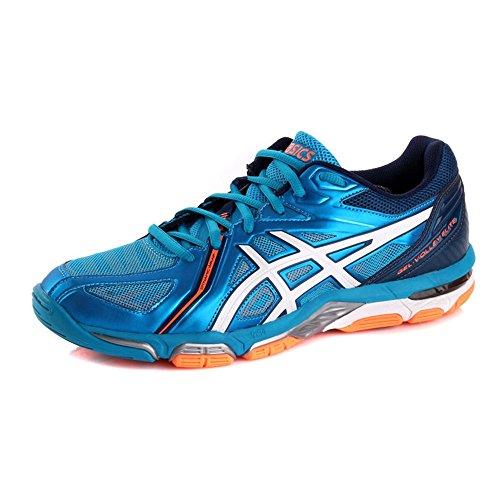 ASICS Gel-Volley Elite 3 Uomos B500N Sneakers Turnschuhe (UK 9.5 US 10.5 EU 44.5, Blue White Orange 4301)