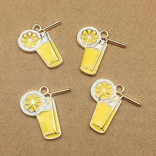 LLBBSS 10 Piezas Accesorios Esmalte Jugo De Limón Limonada Copa De Vino Encantos Colgante Collar Pendientes Colgantes Material De Bricolaje Hecho A Mano