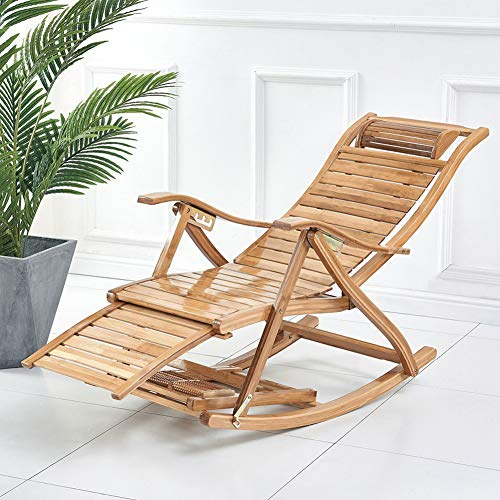 TopJiä Terrasse Liegestuhl Klappbar Schaukelstuhl,Balkon Strand Rasen Bambus Sonnenliege,Verstellbar Kippliege Bambus A