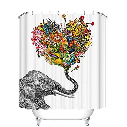 Wild African Bull Elephant Bathroom Shower Curtain 180cm X Polyester hooks