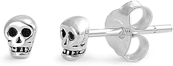 Sterling Silver Tiny Skull Stud Earrings