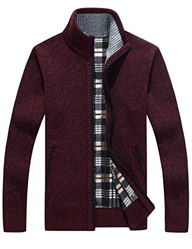 Yeokou Men's Casual Slim Full Zip Thick Knitted Cardigan Sweaters with Pockets (X-Large,Wine Red)