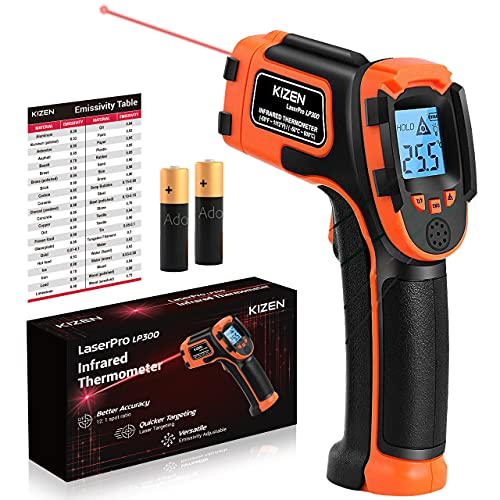 Kizen Infrared Thermometer Gun (NOT for Humans) - LaserPro LP300 Non-Contact Temperature Gun for Cooking, Home Repairs & Maintenance, -58℉ to 1112℉ (-50℃ to 600℃)