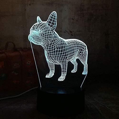 Luz De Noche Led3D France Di Les Bulldog Dog 7 Colores Cambiador Decoración Lámpara De Mesa Para Cumpleaños De Niños O Hogar Control Remoto De 7 Colores