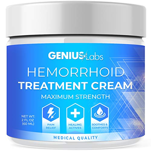 Genius Hemorrhoid Cream, Hemorrhoid Treatment, Hemorrhoid & Fissure Ointment, Fast Relief Hemorrhoid Cream Healing Formula, Hemorrhoid Symptom Ointment 2oz
