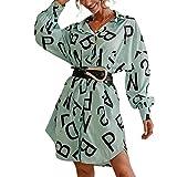 Vestido sexy de mujer de manga larga con cuello de babero vestido elegante con botones ajustados, falda de fiesta, cintura alta, patinete, vestido corto con solapa, turquesa, M