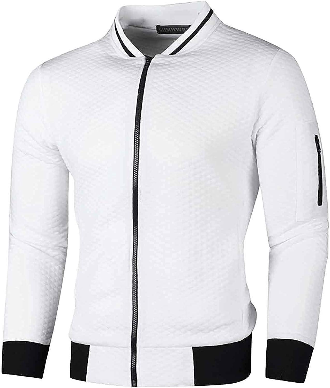 Autumn Winter Jacket for Men Casual Full Zip Bomber Coat Lightweight Slim Fit Outwear Solid Color Street Sportswear