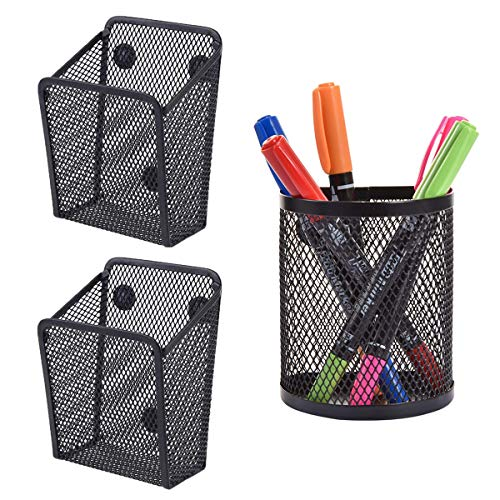 Magnetic Pen Holder,RoadLoo 3 Pack Black Mesh Storage Basket Metal Hanging Stationery with Magnets Strong Magnetic Whiteboard Pen Holder for Home Fridge Locker Accessories Office Supply Organizer