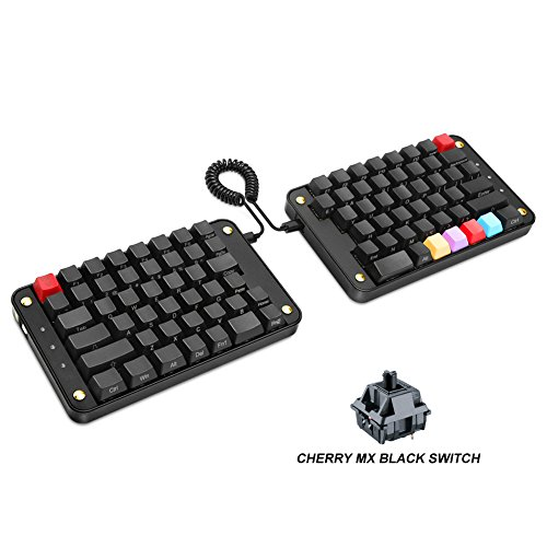 Koolertron Programmable Split Mechanical Keyboard with Cherry MX Black Switch, All 89 Keys Programmable Ergonomic Keypad, 8 Macro Keys [SMKD62](Cherry MX Black Switch (Game))