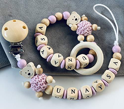 Schnullerkette & Greifling mit Namen Mädchen Teddy Bär in Rosa personalisierte Baby Geschenk