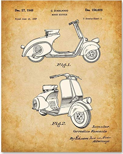 Vespa - 11x14 Unframed Patent Print - Great for Scooter Lovers Under $15