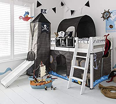 Noa and Nani - Midsleeper Cabin Bed with Slide and Pirate Hideaway Tent, Tower, Tunnel and Bed Tidy