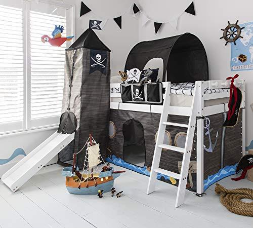 Hochbett mit Rutsche Midsleeper Kids Pirat Hideaway mit Zelt, Tunnel, Turm & Tidy Noa & Nani weiß