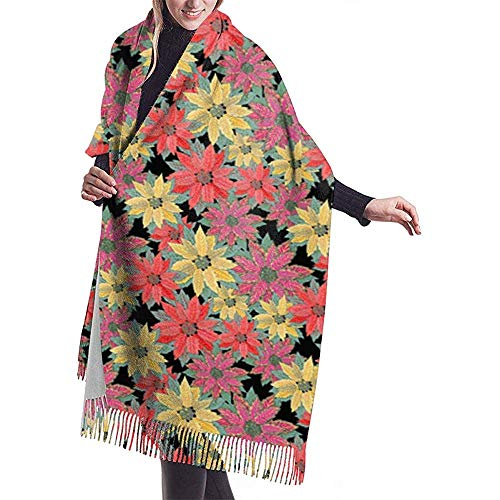Multi Poinsettias Shawl Wrap Winter Warm Scarf Cape Large Soft Cozy Cashmere Scarf Wrap Womans Warm Shawl Stole