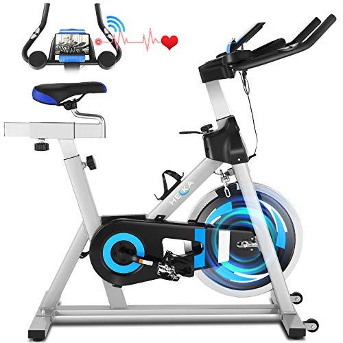 Heka Heimtrainer Fahrrad, 20 kg Schwungrad Heimtrainer für zu Hause, Fitnessbike Mit Herzfrequenzmonitor&APP, Spinning Bike mit Verstellbarer Widerstand und LCD-Display, max.Gewicht 150 kg