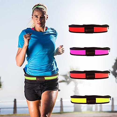 BSEEN Led Running Belt USB Rechargeable Reflective Waist Pack High Visibility Fanny Pocket for Running, Camping, Walking, Cycling (Orange)