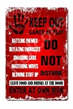 UHVD Keep Out Gamer at Play Do Not Disturb Enter at Own Risk 8x12 Inches Vintage Tin Sign Funny Gamer Decor Gamer Room Sign Boy Gift Room Decor Man Cave Wall Art Decor