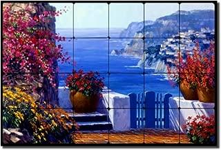Amalfi Coast by Mikki Senkarik - Seascape Tumbled Marble Mural 16