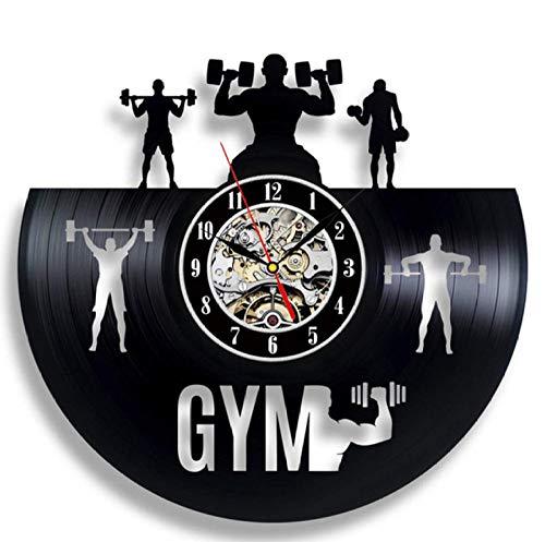 zxyxc Handmade Fitness, Gimnasio Reloj de Pared Retro Diseño Moderno 3D Colgante Decorativo Relojes de Registro de Vinilo Vintage Reloj de Pared Decoración para el hogar