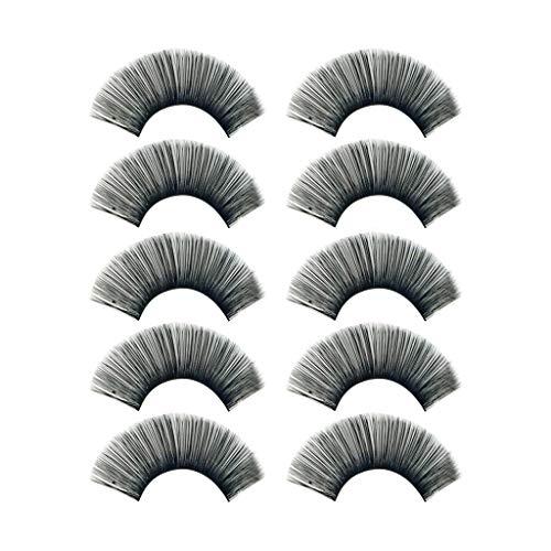 Faux Cils Femme 3D Naturel,RéUtilisables Exquis Duveteux Beauté Faux Cils Naturels à La Main Ultra-Minces Cils Volume Longue Pour Volume (5 Paires 10 PièCes) (1cm-1.5cm, Noir)