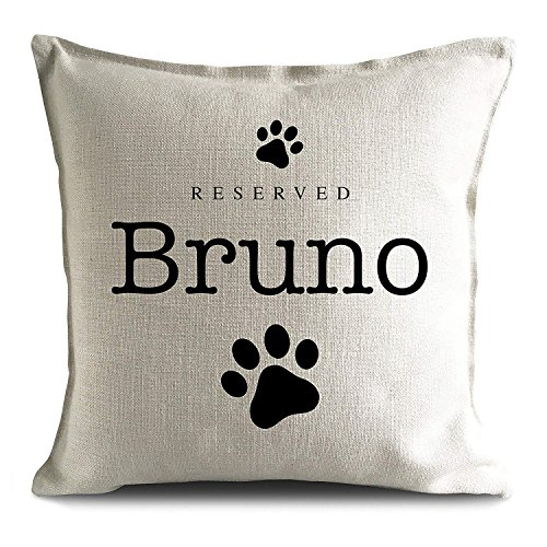 Personalised Dog Breed reserved Pet name strong Cushion Pillow Cover, paw prints 45cm 18 inches